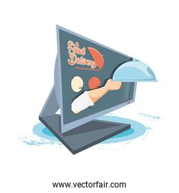 food delivery service with computer icon vector ilustration