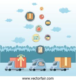 food delivery service set icons icon vector ilustration
