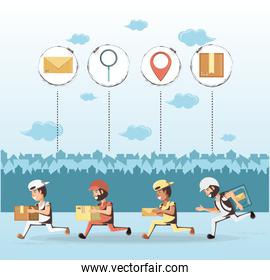 couriers delivery service characters icon vector ilustration
