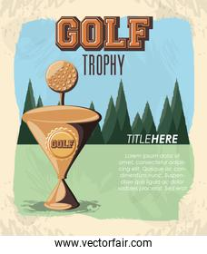 golf club label with trophy cup