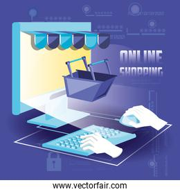 on line shopping with desktop