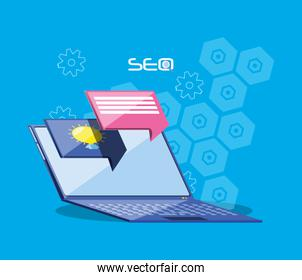 search engine optimization with laptop
