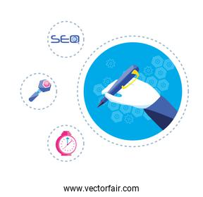 search engine optimization with hands writing