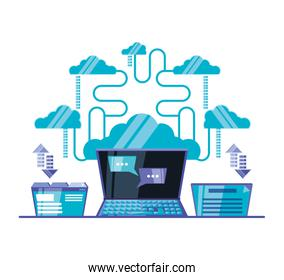 cloud computing network with laptop