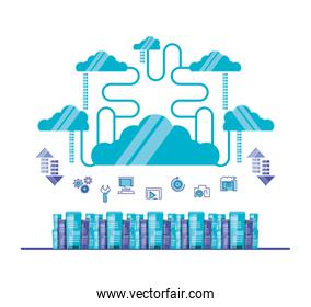 cloud computing network with servers towers