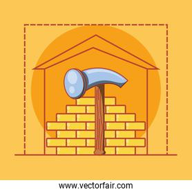wall with home repair icons