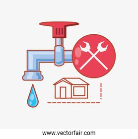 water tap with home repair icons
