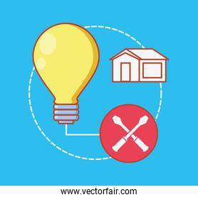 bulb with home repair icons