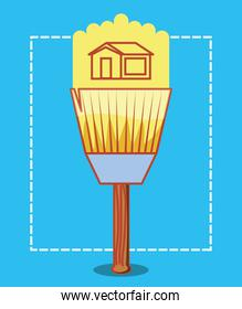 paint brush with home repair icons