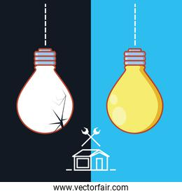 light bulbs hanging with home repair icons