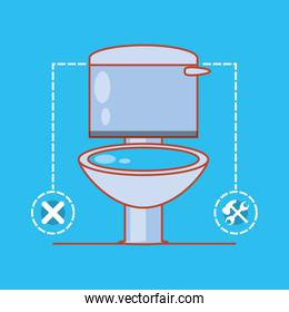 toilet with home repair icons