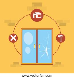 window with home repair icons