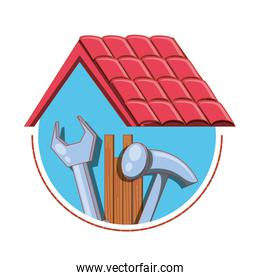 roof structure with home repair icons