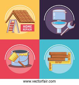 home repair with tools set icons