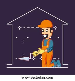 builder character with home repair icons