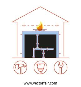 house pipeline structure with home repair icons