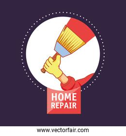hand with brush home repair icon