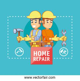 builders characters with home repair icons
