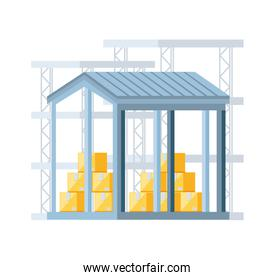 warehouse building with delivery boxes