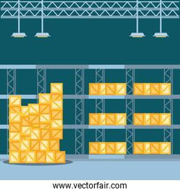 warehouse shelf with delivery boxes