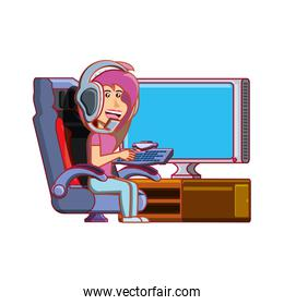 girl playing video game avatar character