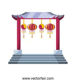 isolated chinese portal with lantern hanging