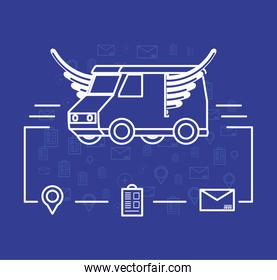 delivery truck flying logistic service