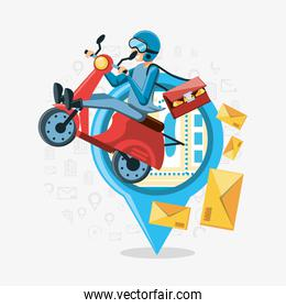 courier man of logistic service in motorcycle