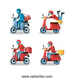 courier men of logistic service in motorcycle