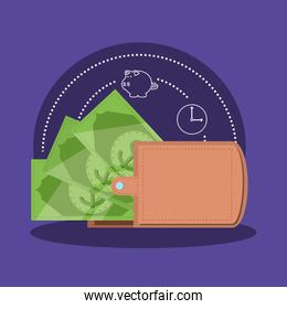wallet money with bill dollar isolated icon
