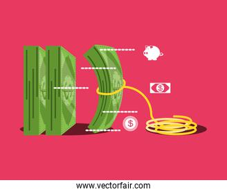 bill dollar money with rope isolated icon