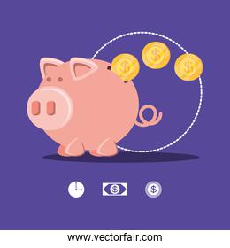 saving piggy and coins isolated icon