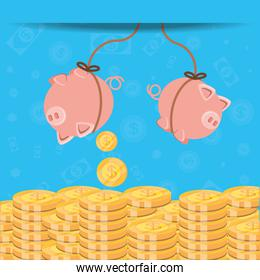 saving piggy hanging and coins isolated icon