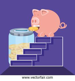 saving piggy and coins in scales