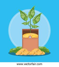 plant of bills dollar isolated icon