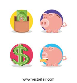 wallet money with piggy saving and symbol dollar