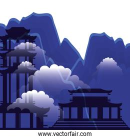 chinese portals with landscape isolated icon