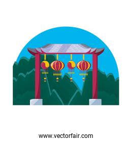 chinese portal with lanterns light isolated icon
