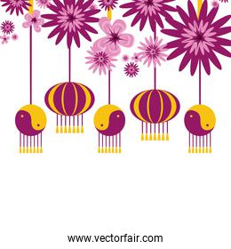 set of chinese lanterns with flowers