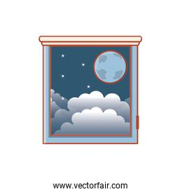 window with view of night isolated icon