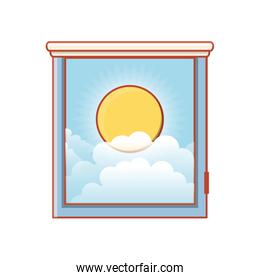 window with view of day isolated icon