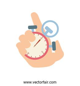 hand with chronometer time isolated icon