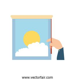 hand and window with view of day isolated icon