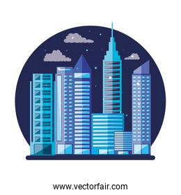 cityscape with buildings scene night