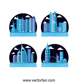 set of cityscape with buildings scene night