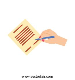 hand signing document isolated icon