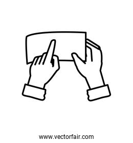 hands with document file isolated icon