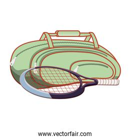 gym bag with racket tennis isolated icon