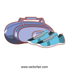 gym bag with shoes isolated icon