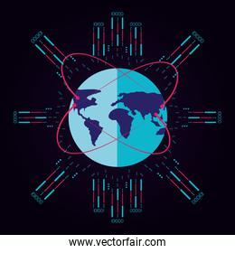 planet earth and circuit electronic
